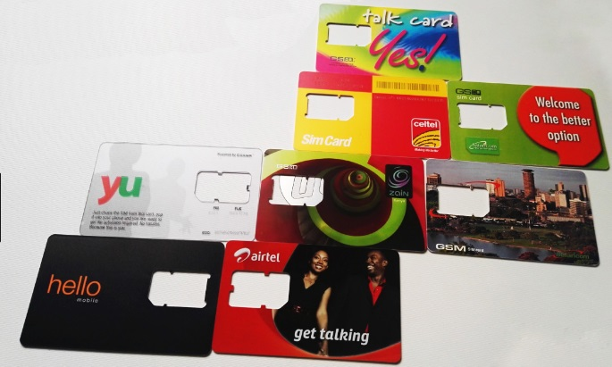 Some of the SIM cards belonging to various telcom companies in Kenya