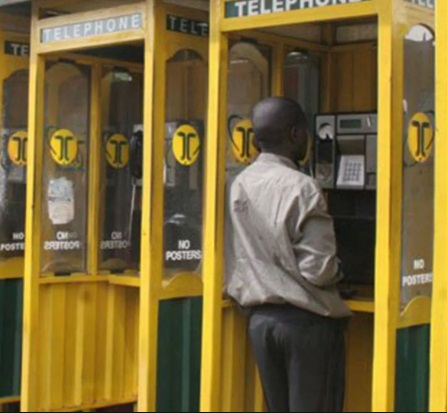 Telephone booth belonging to Telkom, formerly Kenya Posts & Telecommunications Company (KPTC)