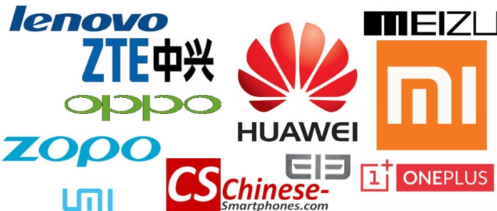 Some popular Chinese smartphone brands