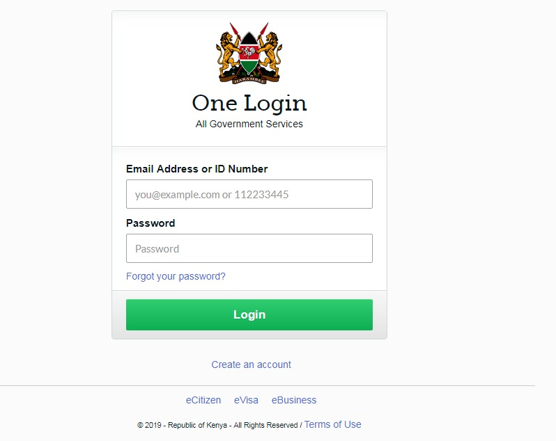 ecitizen login page. You can apply for a Kenyan passport here.