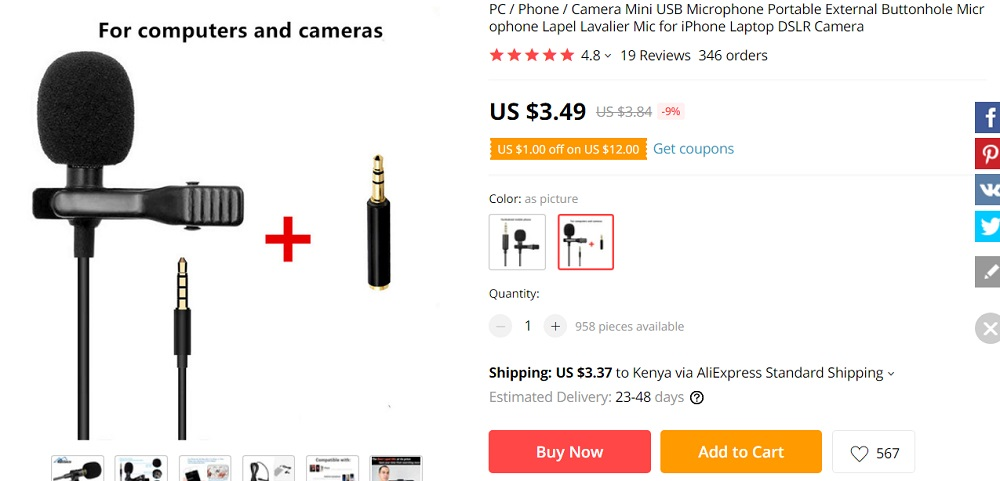 Lavalier microphone from Aliexpress.