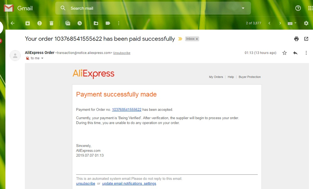 Aliexpress confirmation email