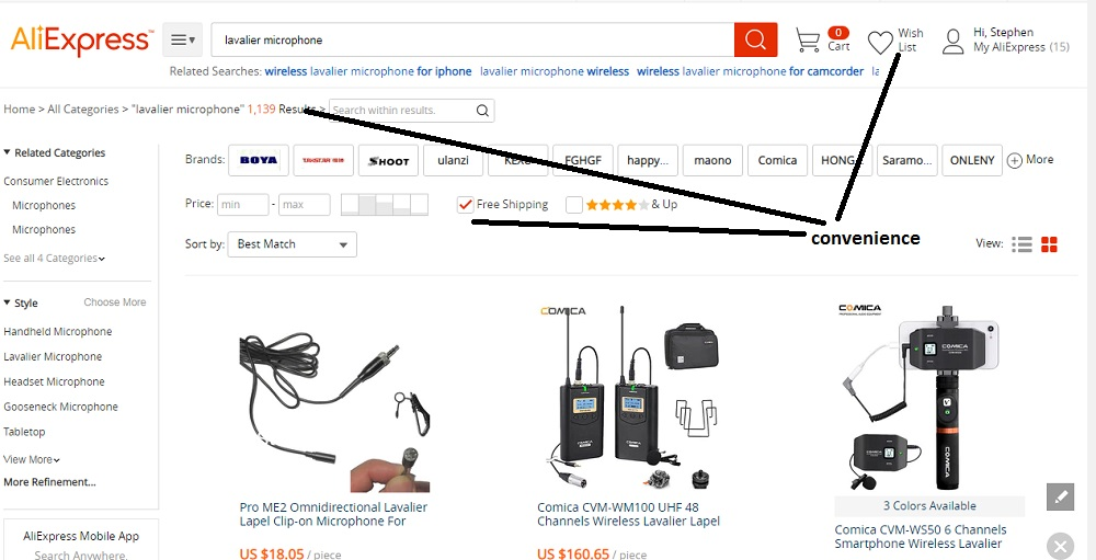 Aliexpress search results.